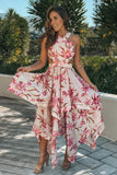 Pink Cut Out Floral High Low Dress