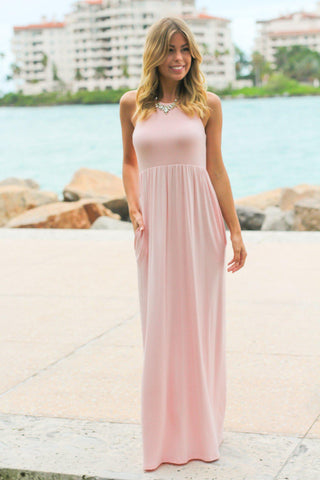 Light Pink Maxi Dress with Pockets