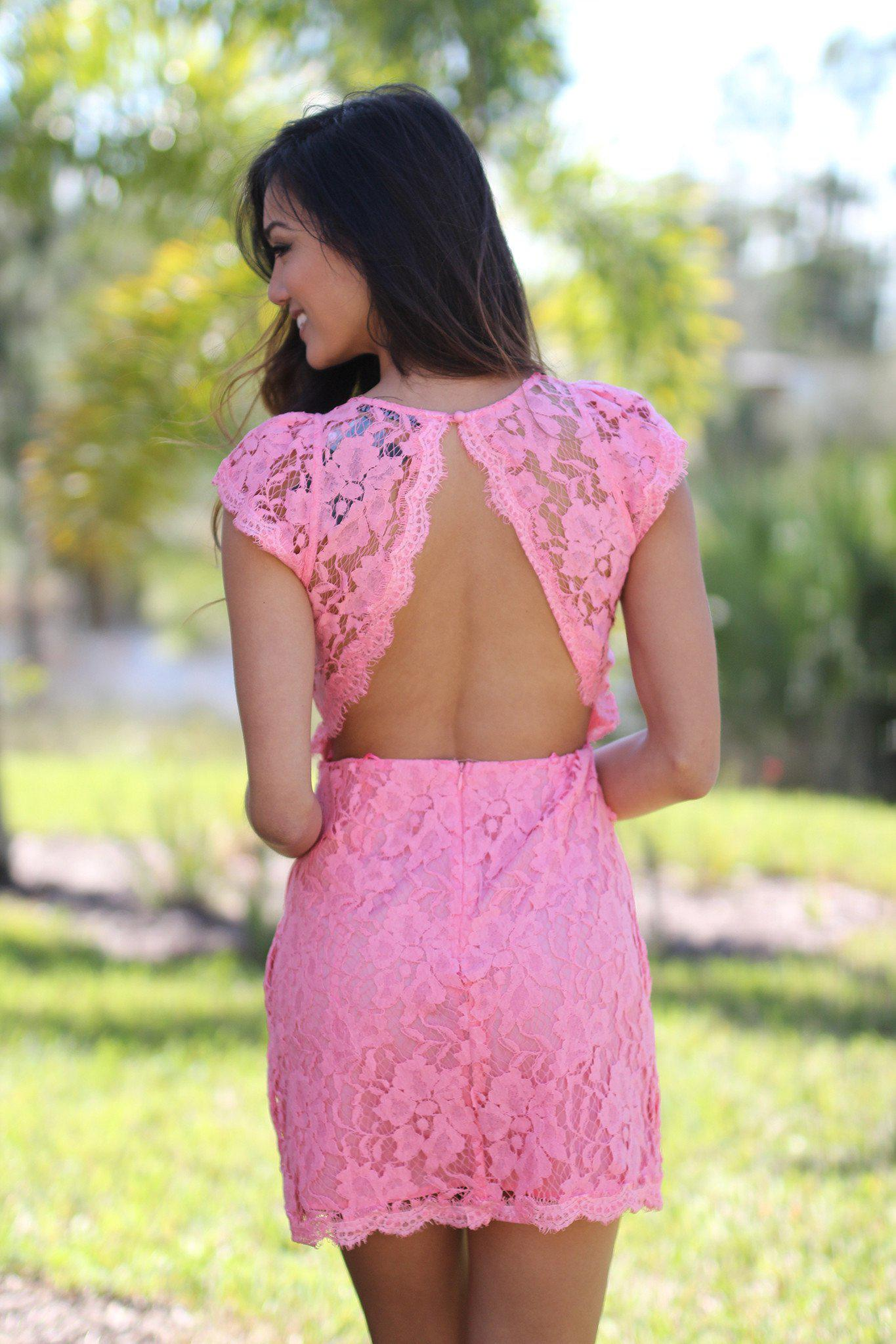 Pink Lace Dress with Pockets