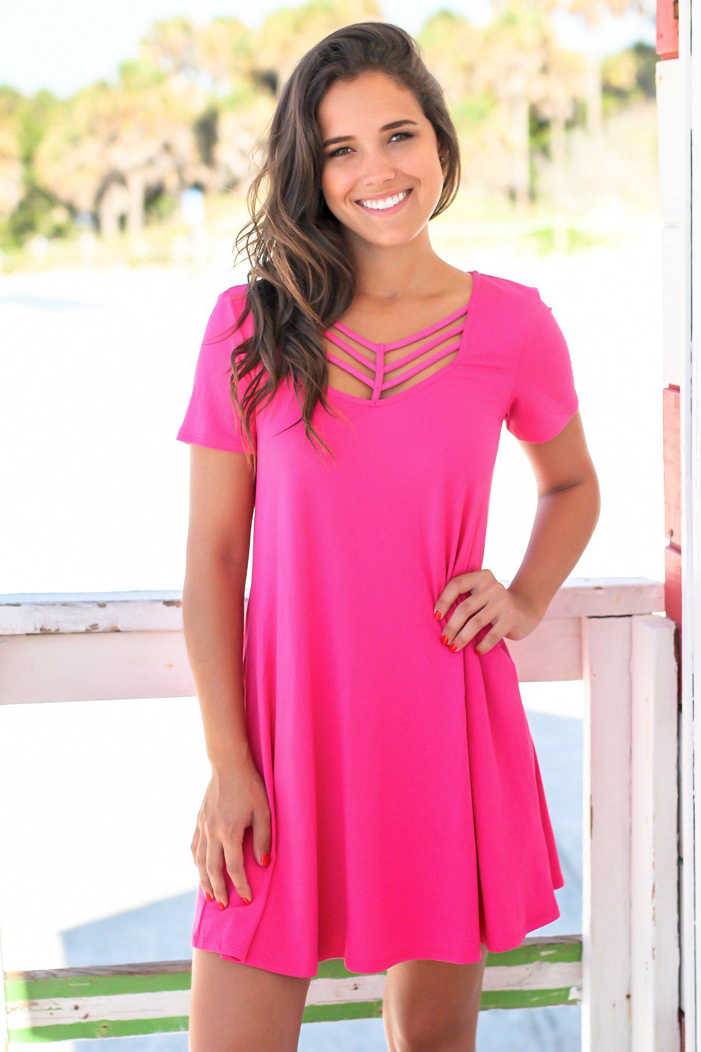 Hot Pink Short Sleeve Strappy Short Dress Short Dresses Saved By