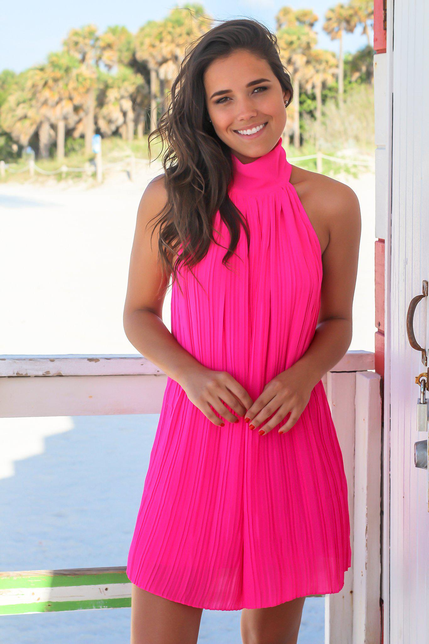 Hot Pink High Neck Pleated Dress   Short Dresses – Saved by the Dress