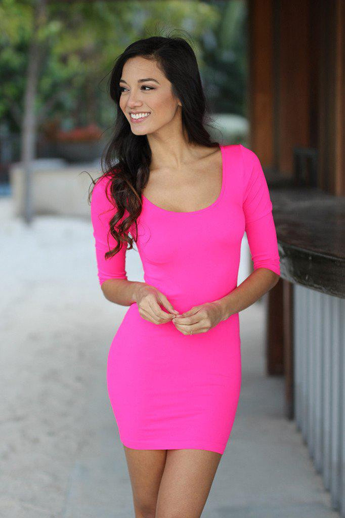 neon pink 3/4 sleeve dress