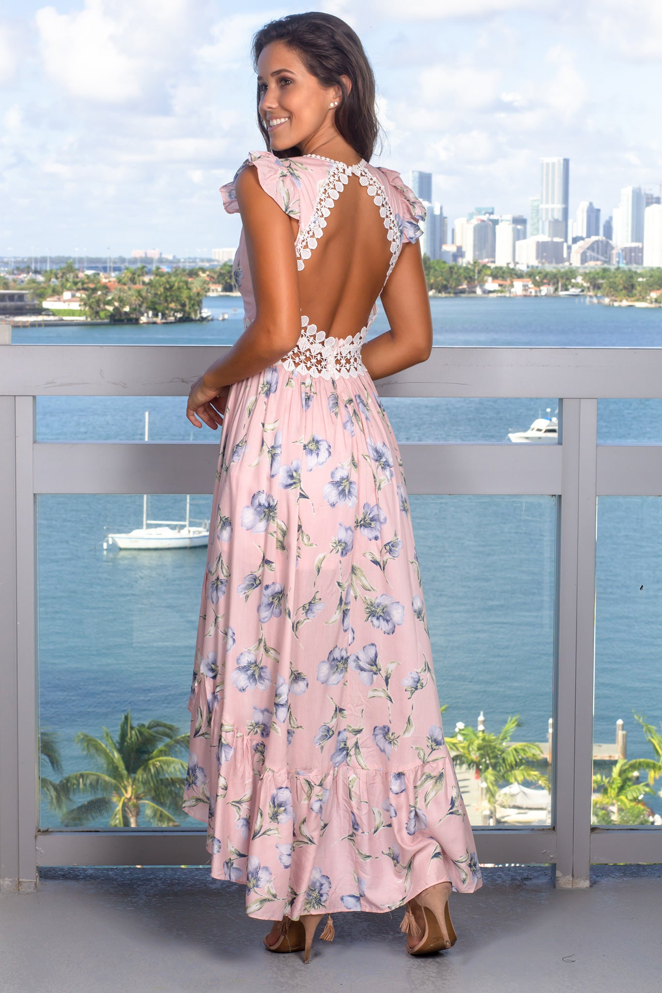 Pink Floral High Low Dress with Open Back