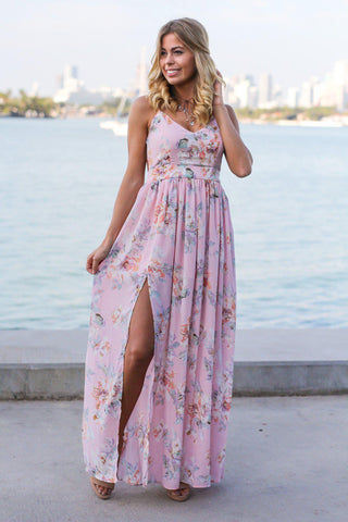 Pink Floral Maxi Dress with Open Back and Side Slit
