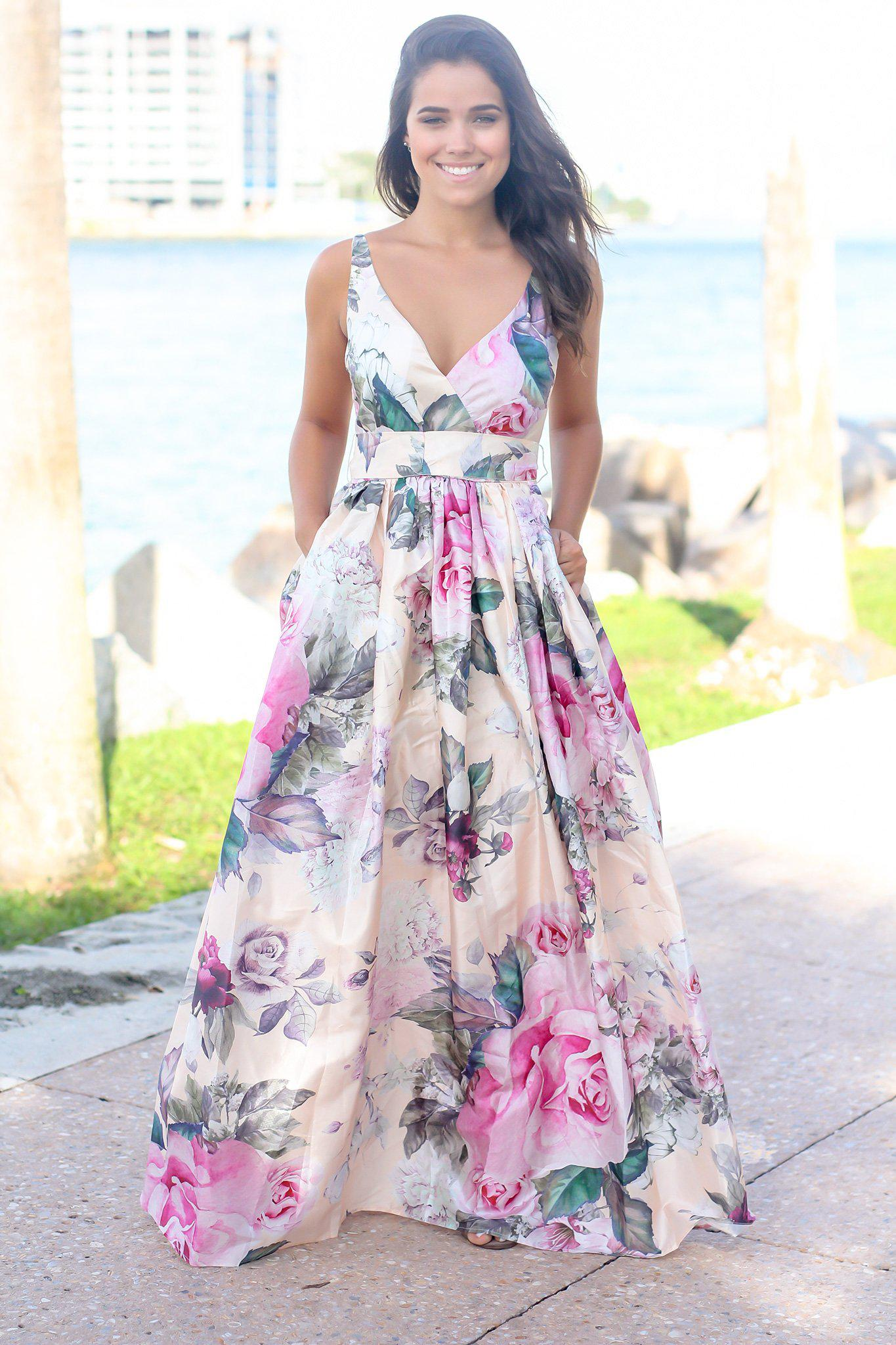 Pink Floral Printed Maxi Dress with Lace Back