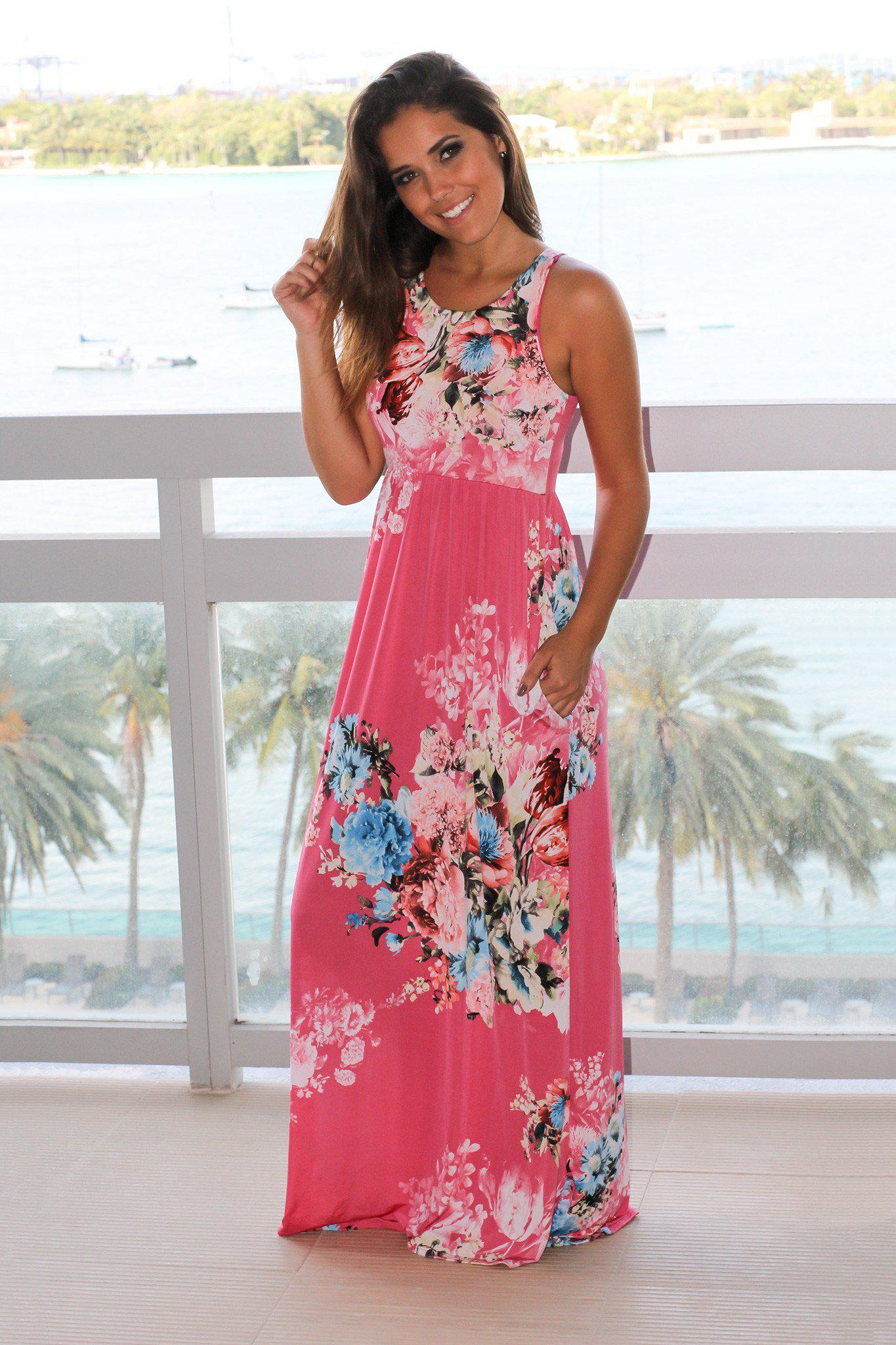 Pink Floral Racerback Maxi Dress with Pockets