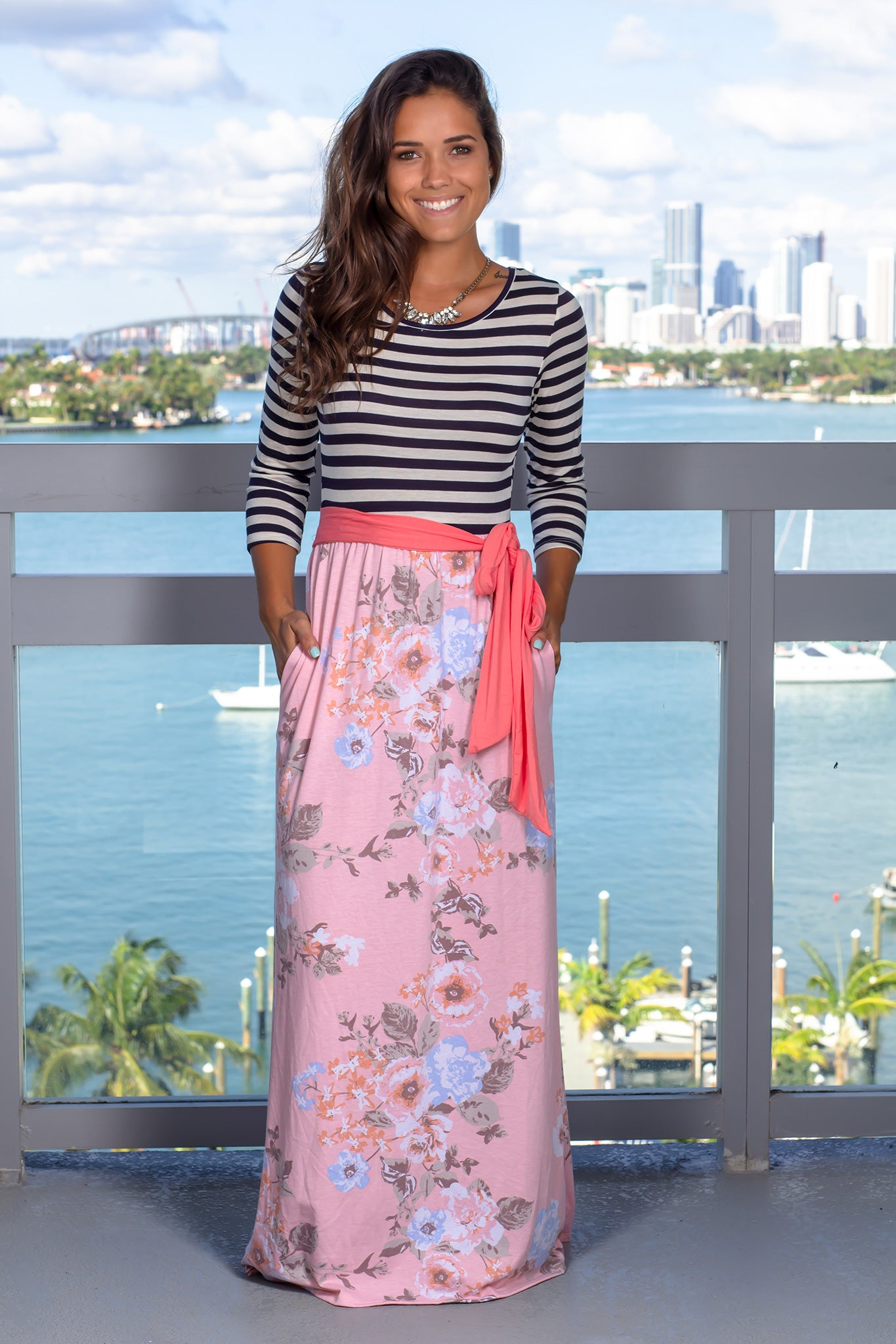 Pink Floral Striped Maxi Dress