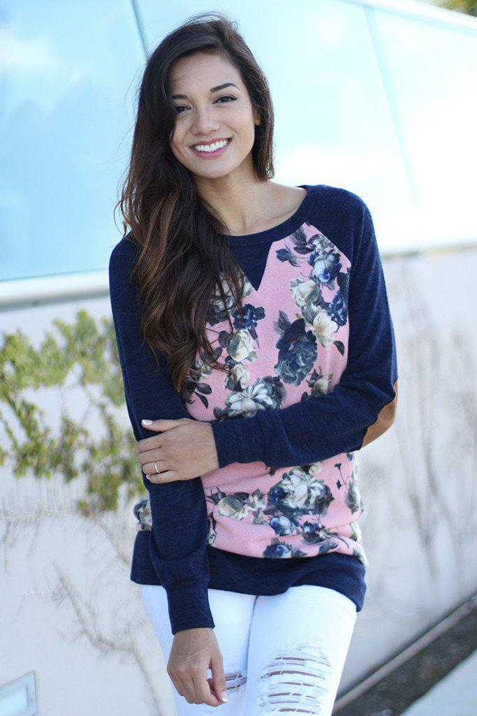 Navy and Pink Floral Top With Elbow Patch