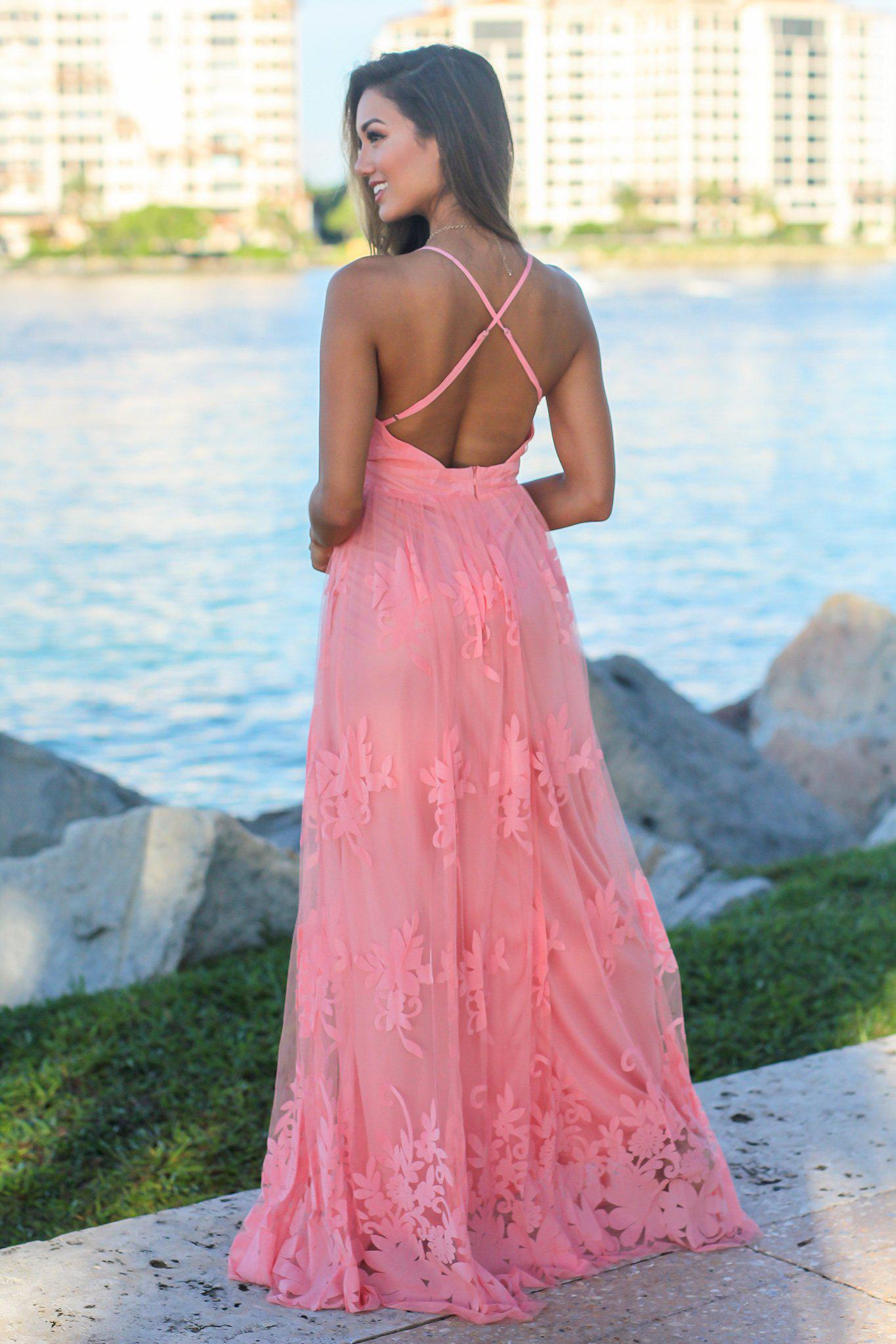 Pink Floral Tulle Maxi Dress with Criss Cross Back
