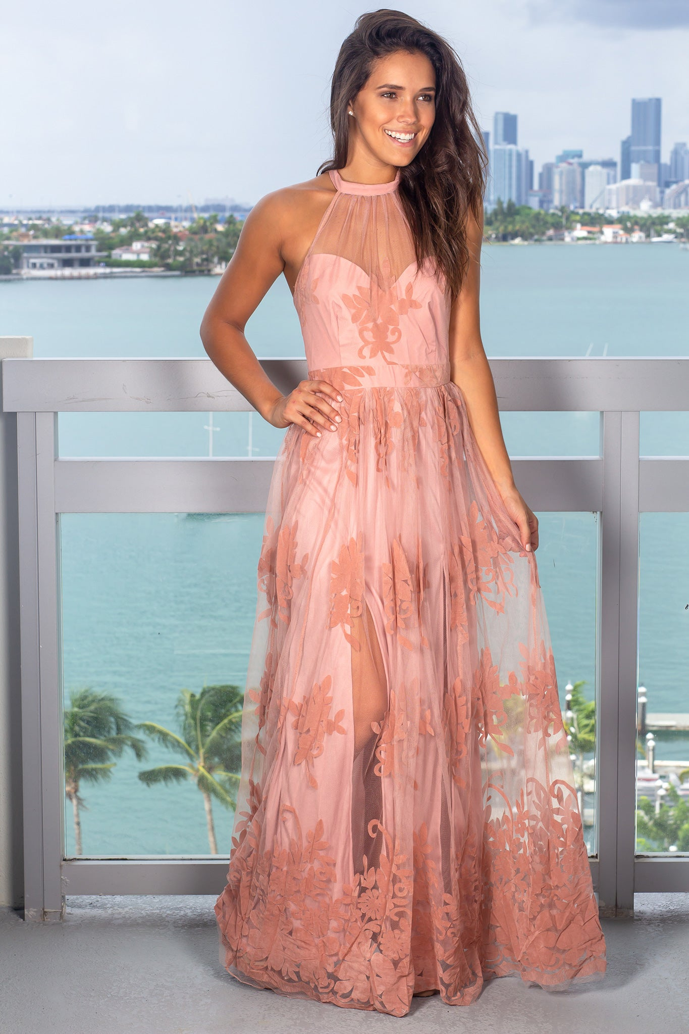 Pink Floral Tulle Maxi Dress with Halter Neck