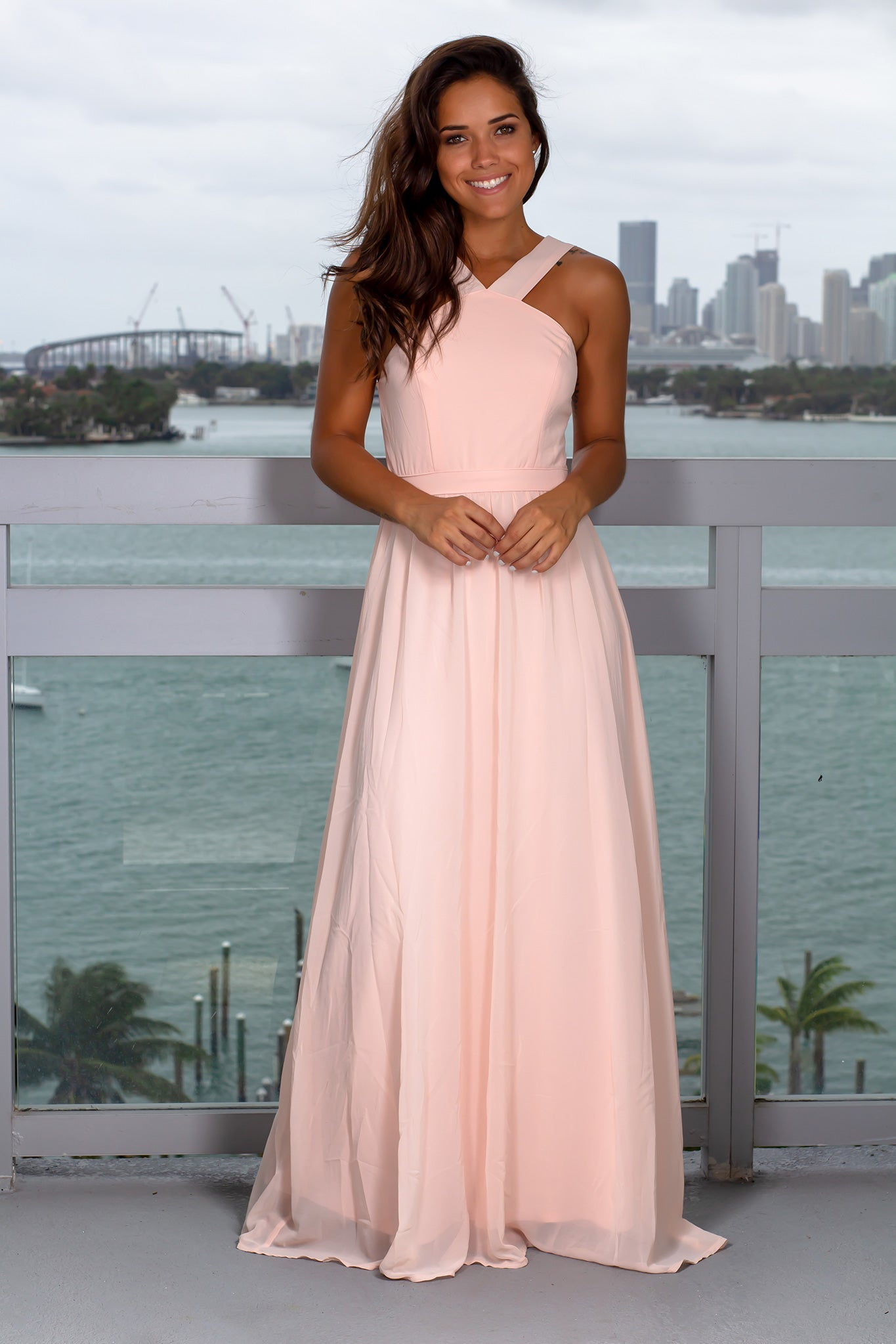 Pink Halter Neck Maxi Dress with Open Back