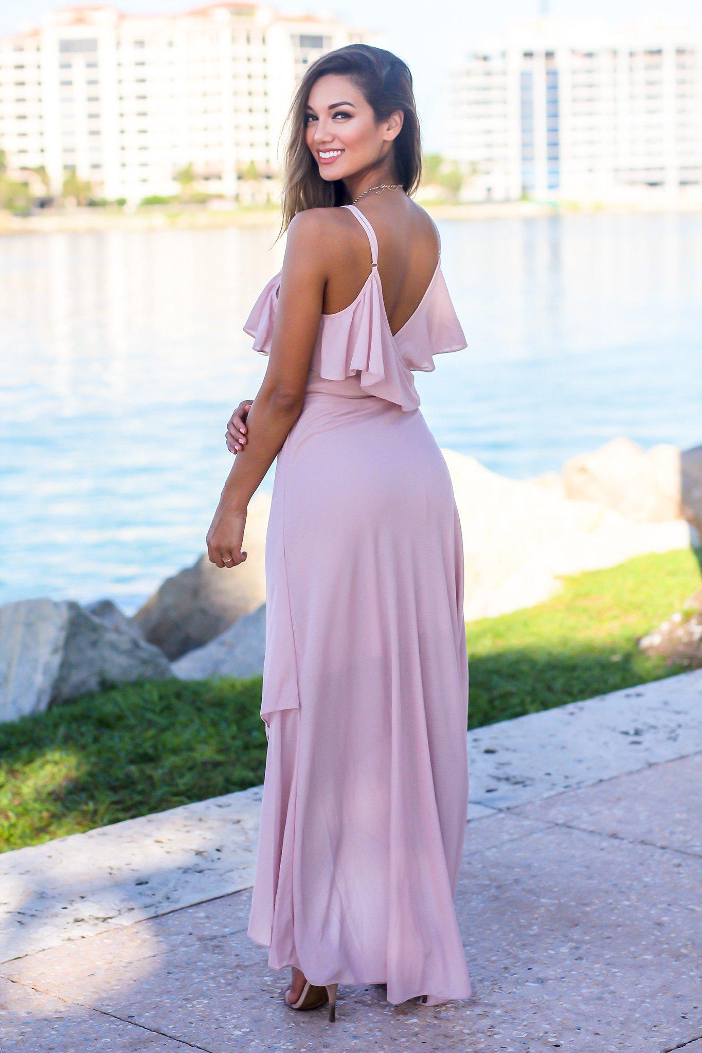 Pink High Low Dress with Ruffle Detail