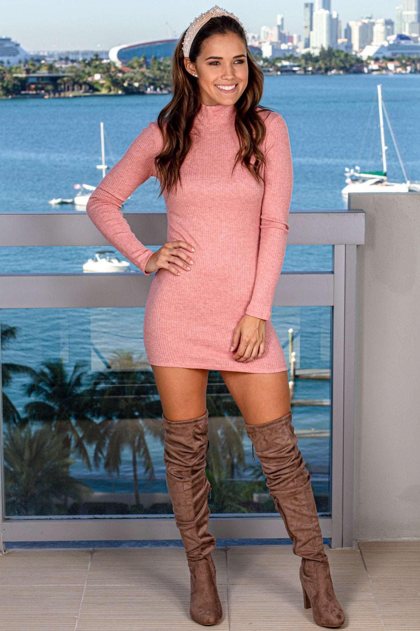 Pink High Neck Bodycon Short Dress