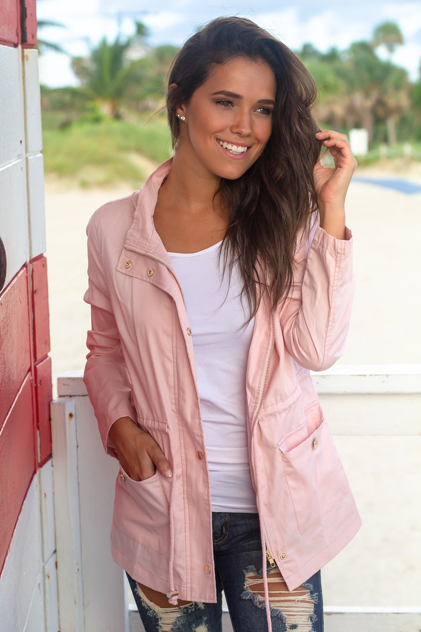Pink Jacket with Gold Detail