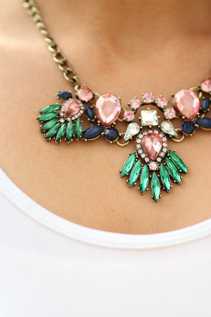 Pink Jeweled Wing Necklace