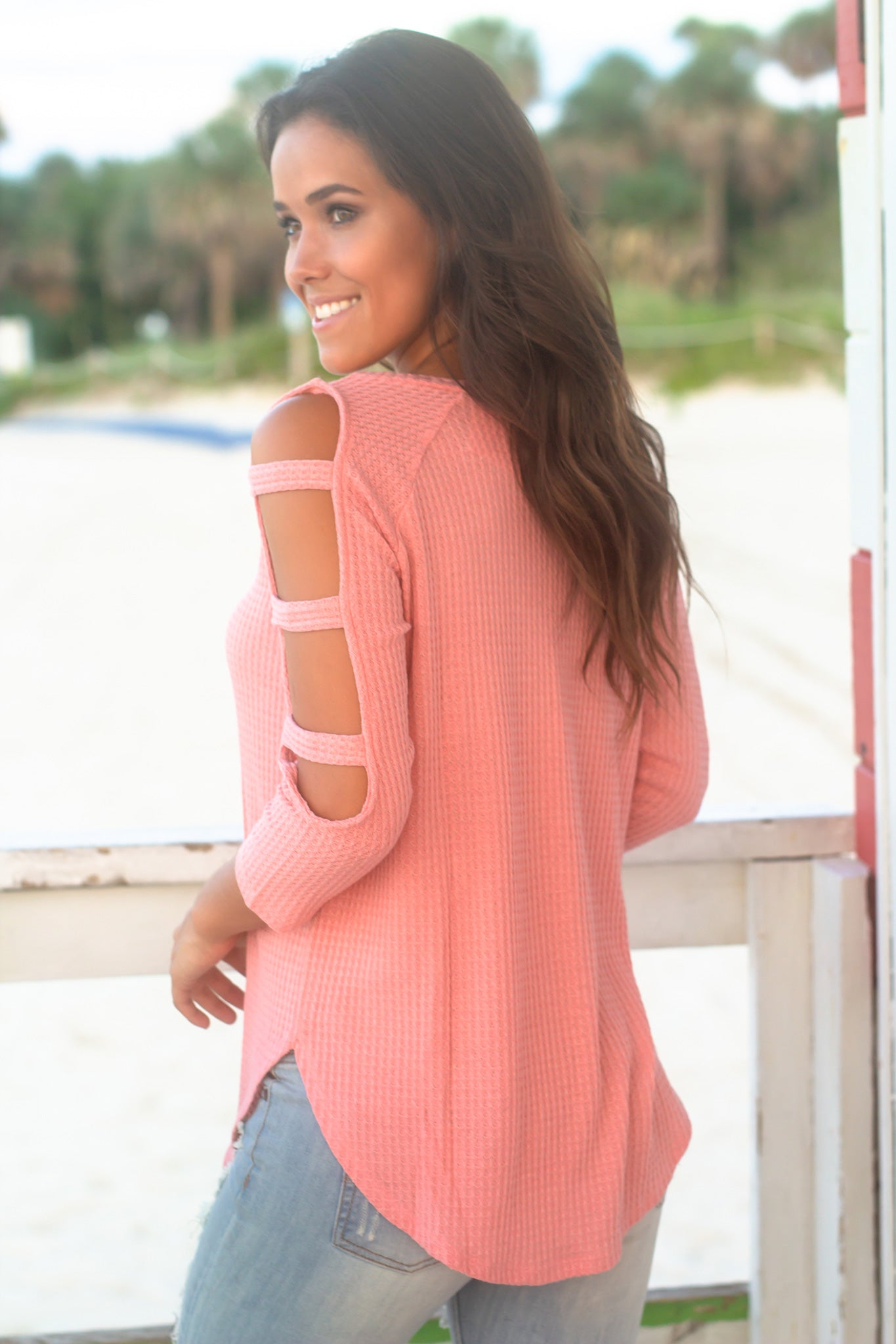 Pink Knit Top with Cut Out Sleeve Detail