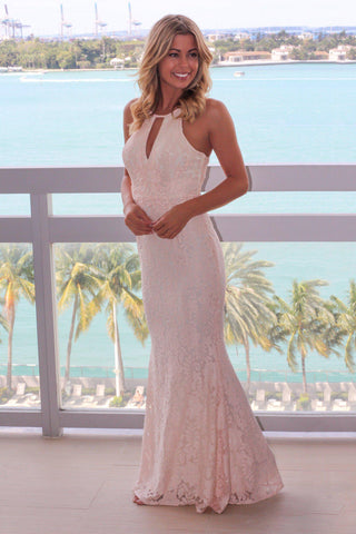 Pink Lace Halter Neck Maxi Dress