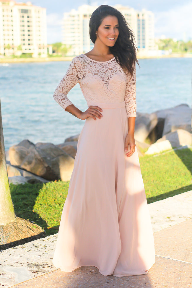 Pink Lace Maxi Dress with 3/4 Sleeves