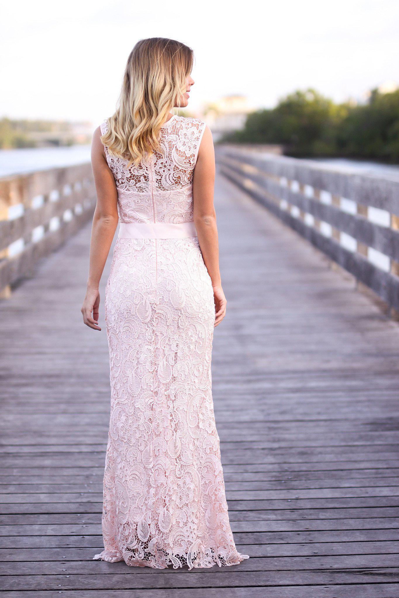 Pink lace maxi dress with bow bridesmaid dresses saved by the pink lace maxi dress with bow ombrellifo Choice Image