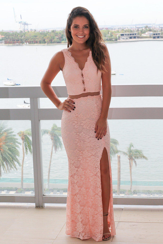 Pink Lace Maxi Dress with Mesh Detail and Side Slit