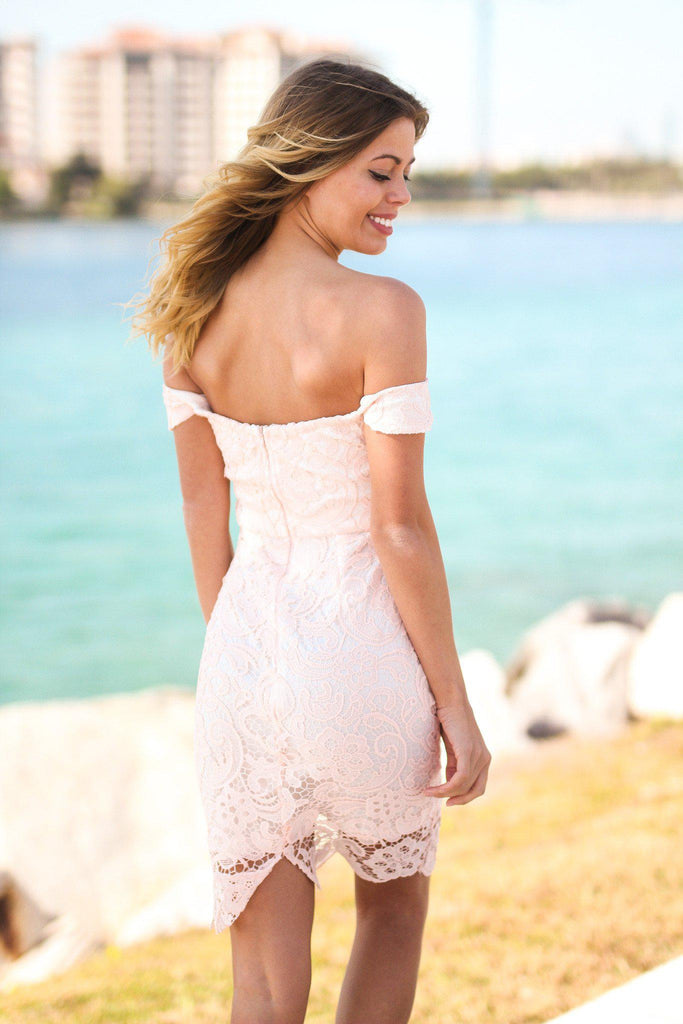 Pink Lace Off Shoulder Short Dress