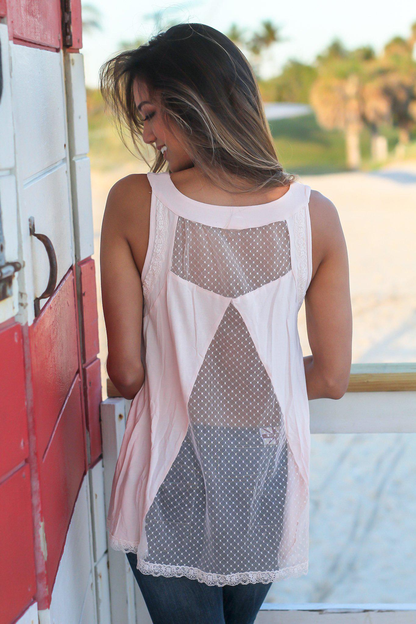 Pink Lace Up Top with Mesh Detail