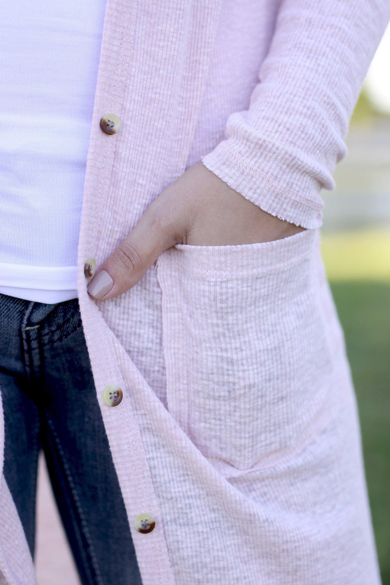 blush button up cardigan