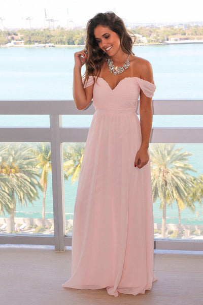 Pink Off Shoulder Maxi Dress With Pleated Top Maxi