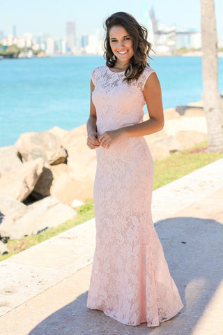 Pink Floral Lace Maxi Dress with Open Back