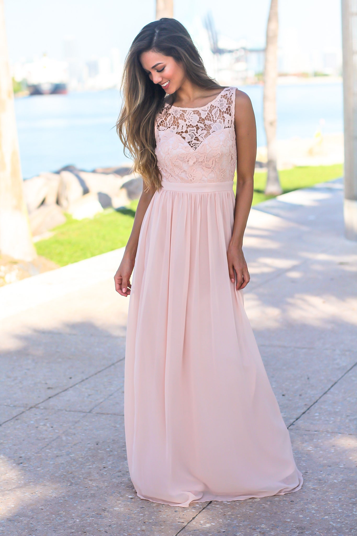 Pink Maxi Dress with Crochet Top