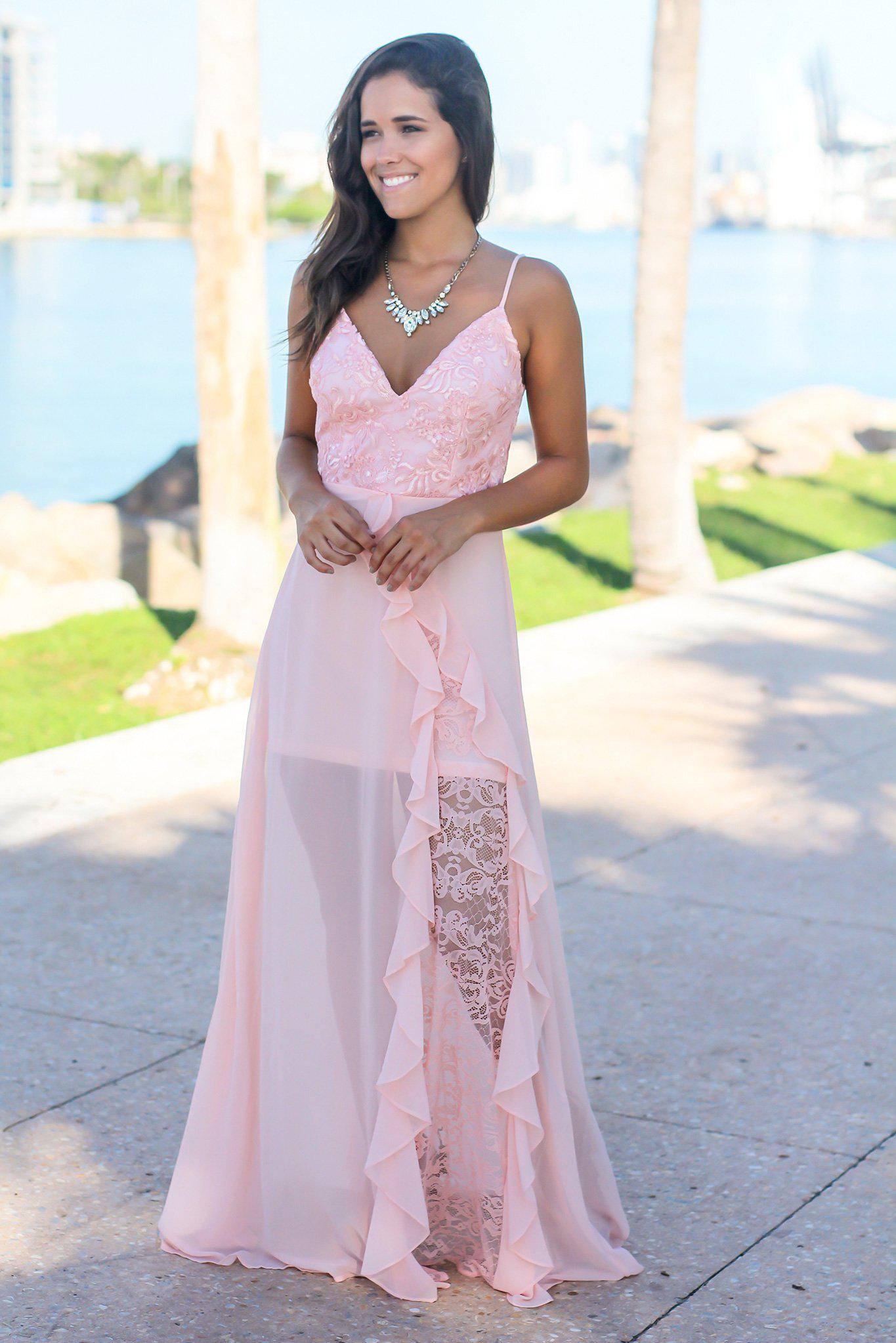 381f8f979d7aa Blush Maxi Dress with Embroidered Top and Lace Detail