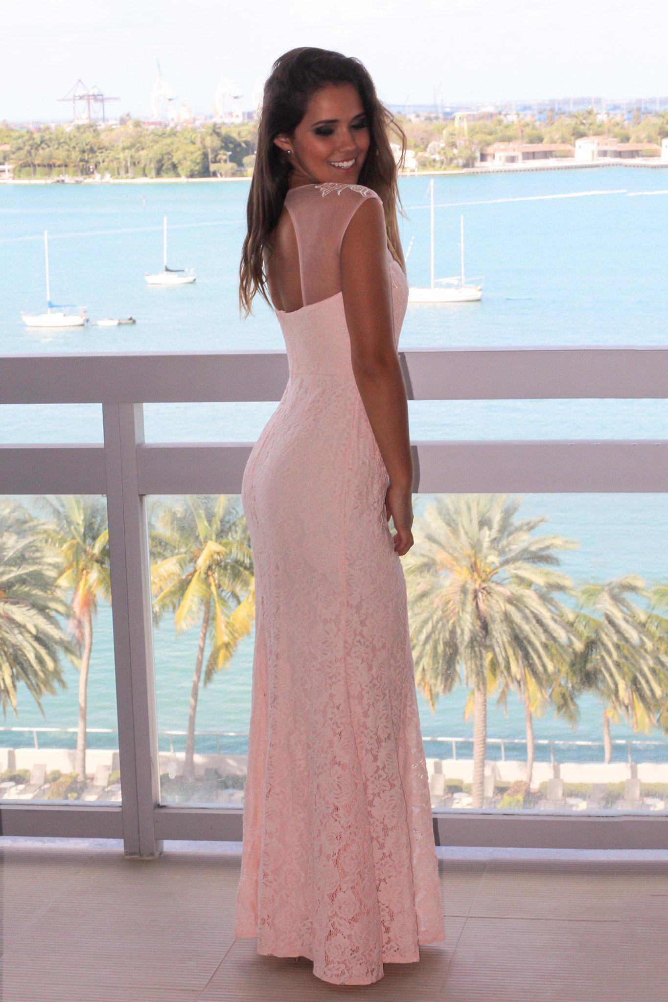 Pink Maxi Dress with Lace Detail