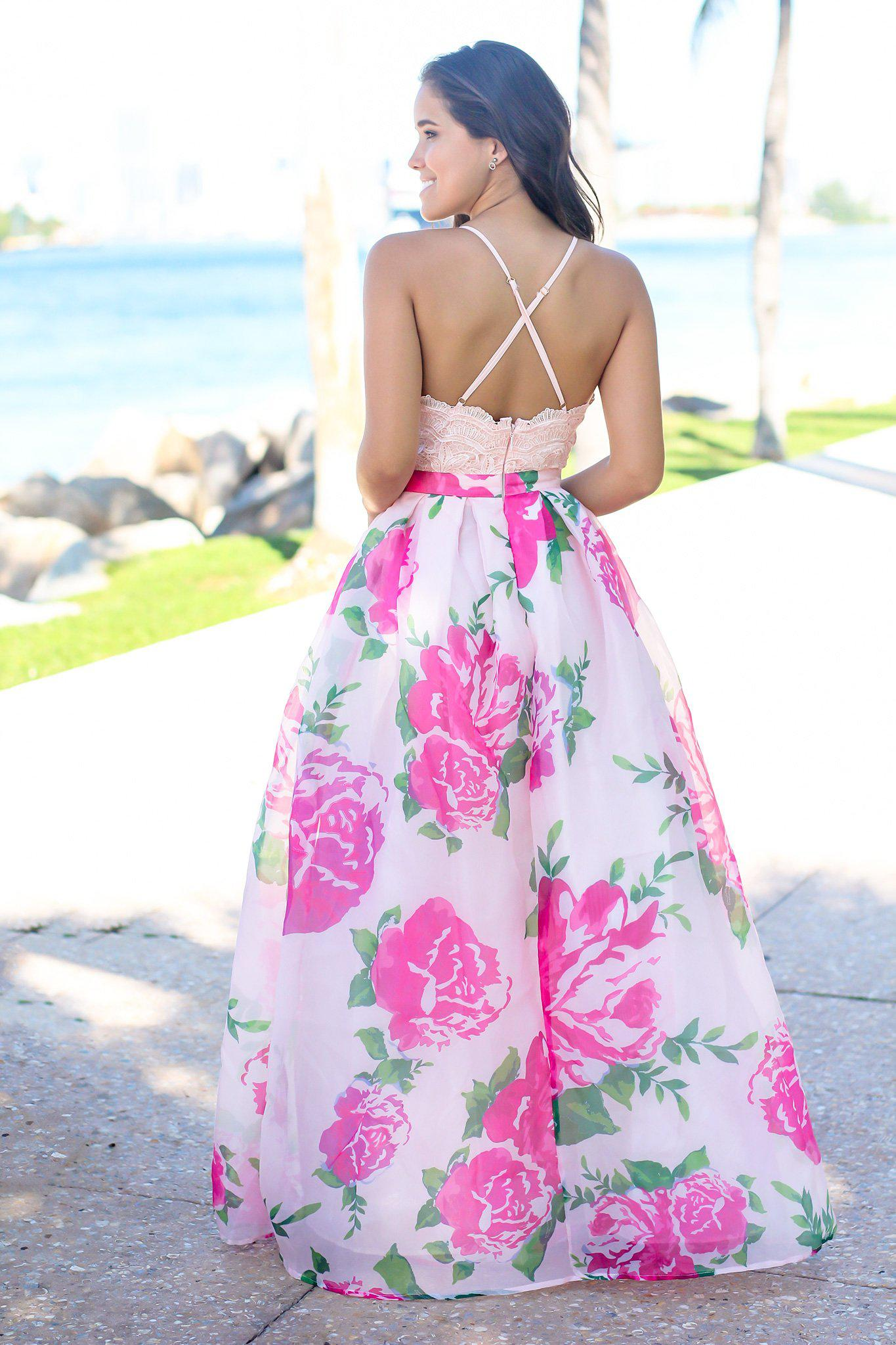 Pink Maxi Dress with Rose Printed Skirt