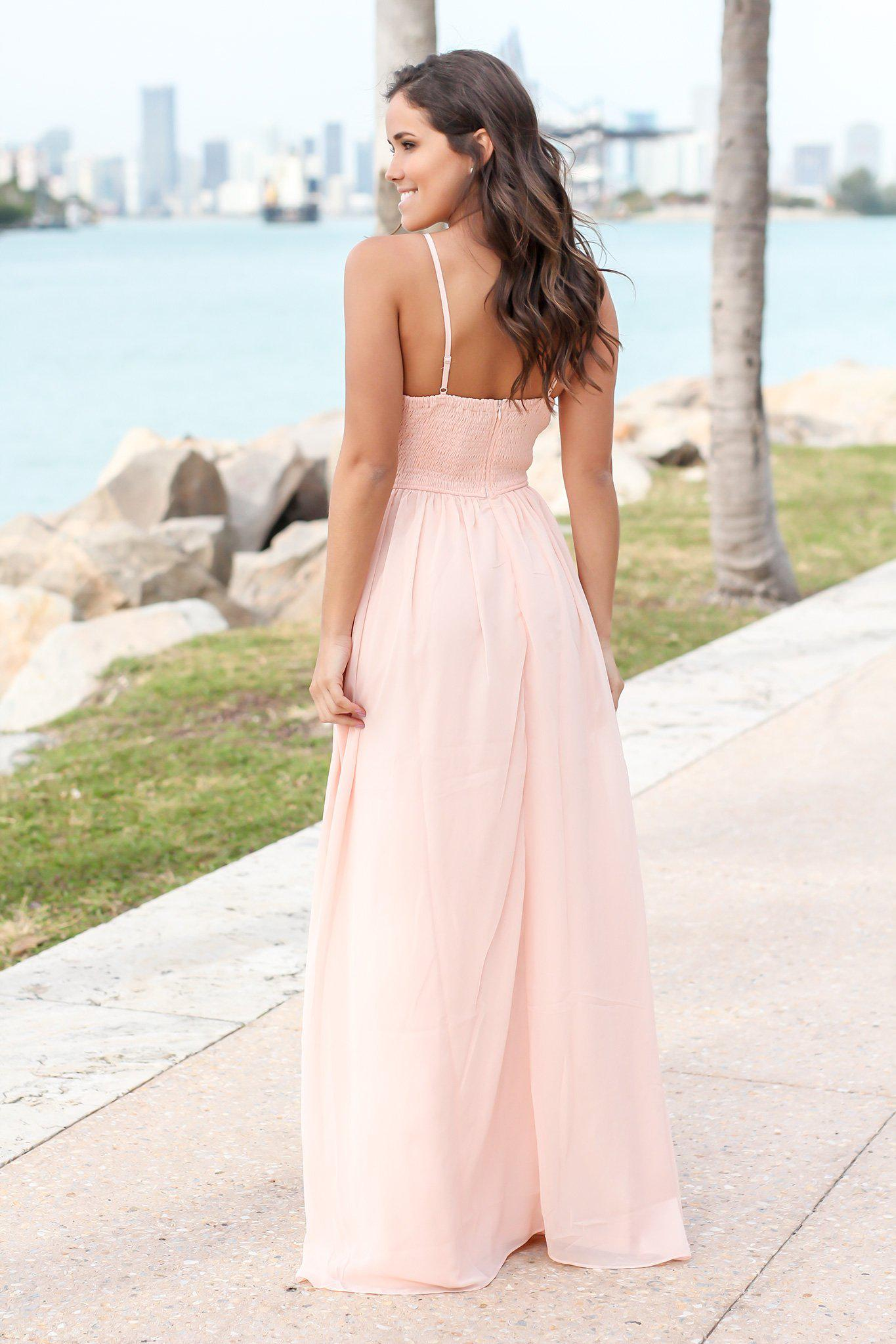 Pink Maxi Dress with Sequin Top