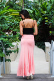 Light Pink Maxi Skirt with Side Slit