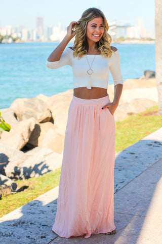 Light Pink Maxi Skirt with Pockets