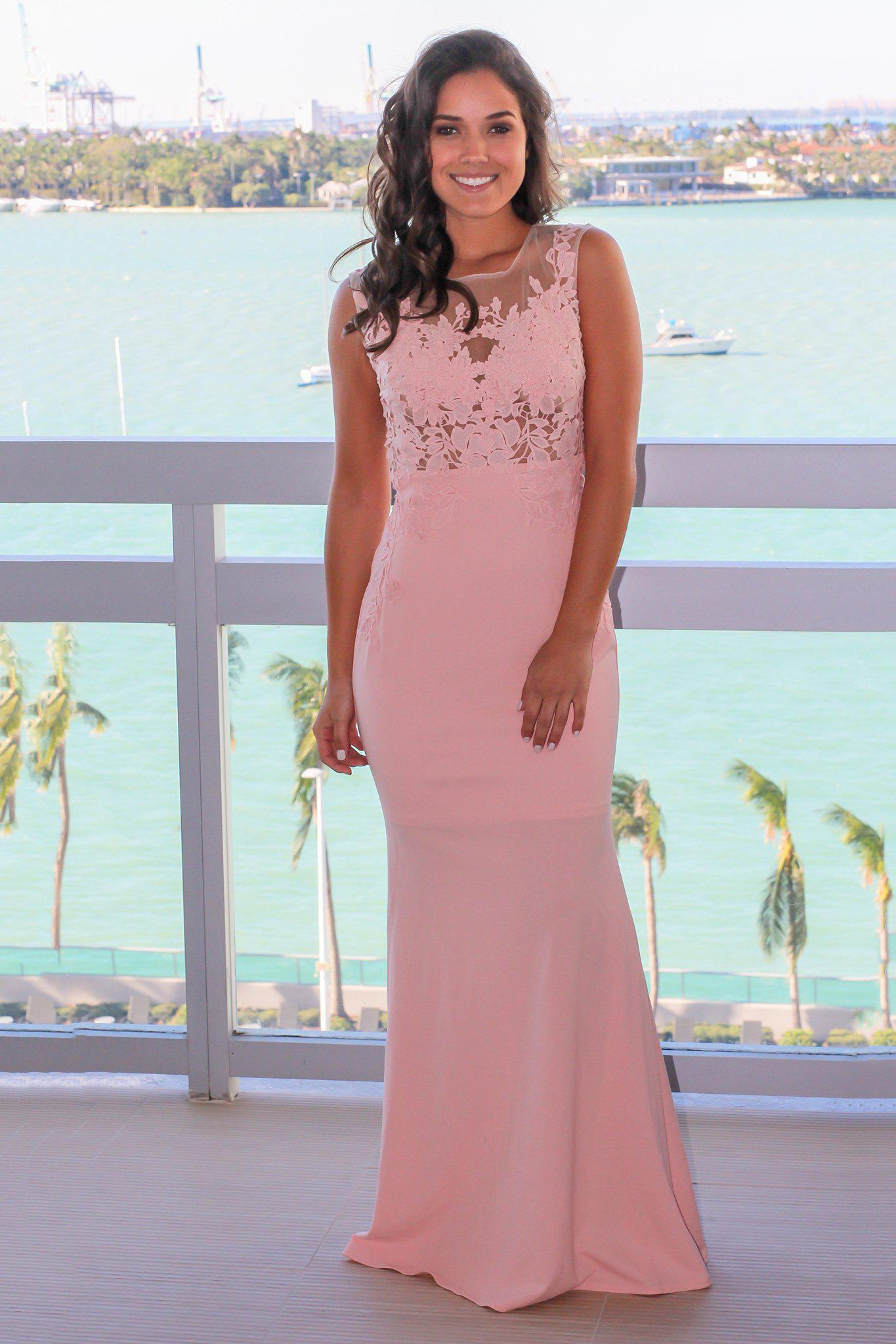 Pink Mesh Top Maxi Dress with Open Back