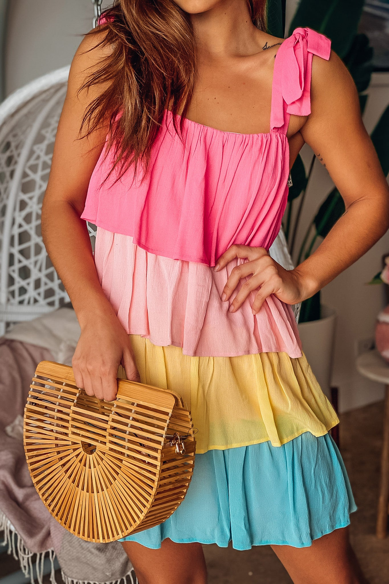Pink Multi Colored Layered Short Dress