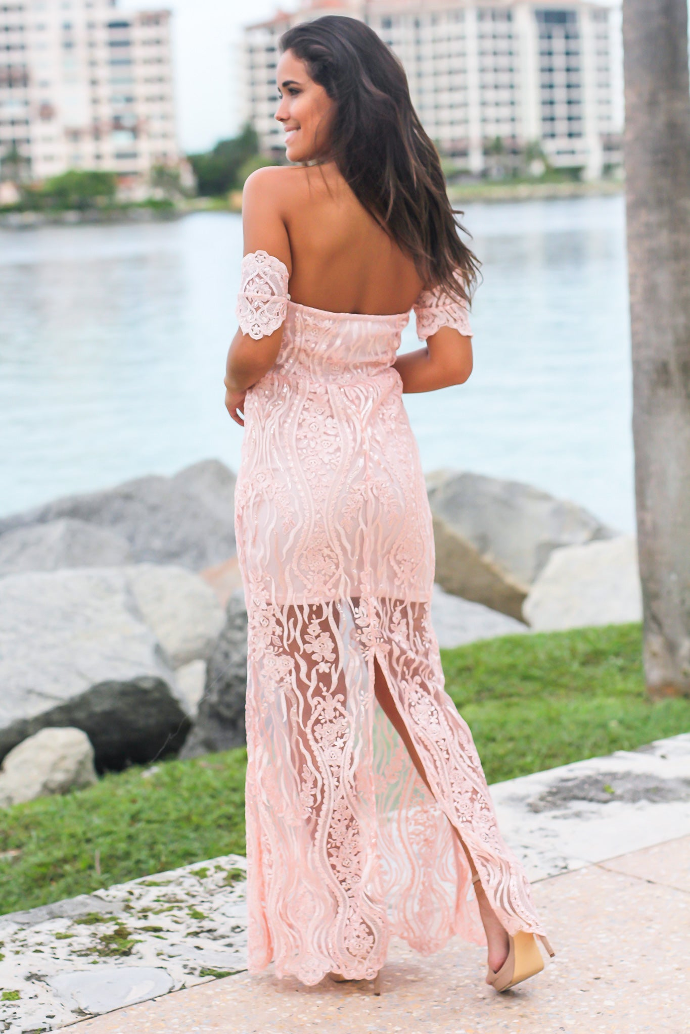 Pink Off Shoulder Embroidered Maxi Dress