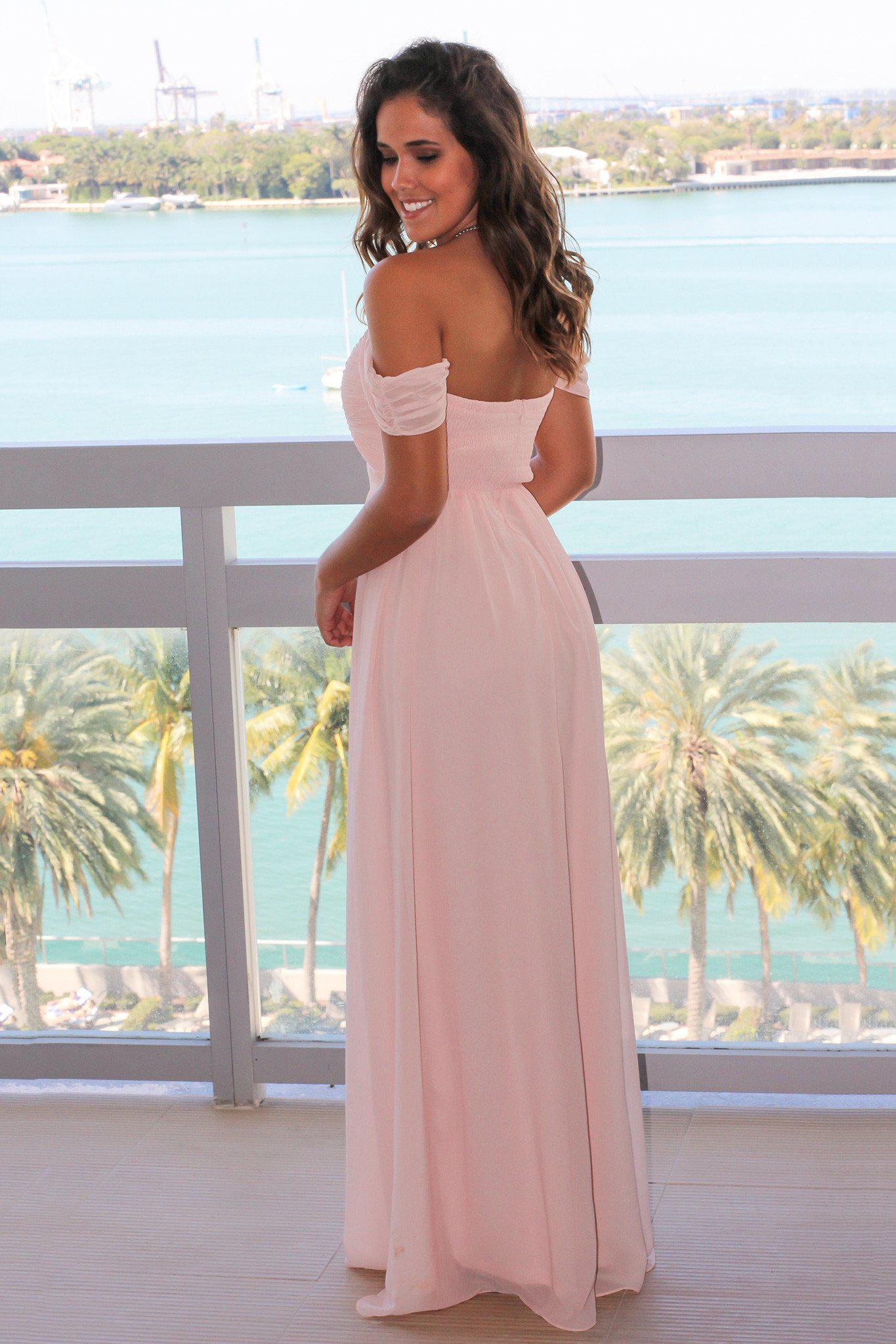 Pink Off Shoulder Maxi Dress with Pleated Top