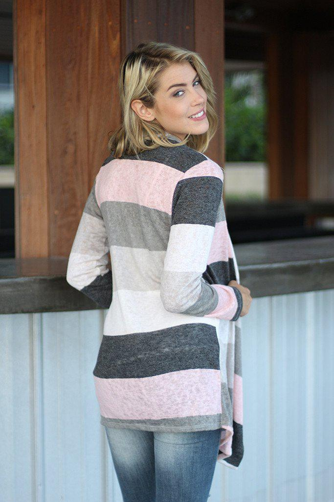 Ivory And Pink Color Block Cardigan