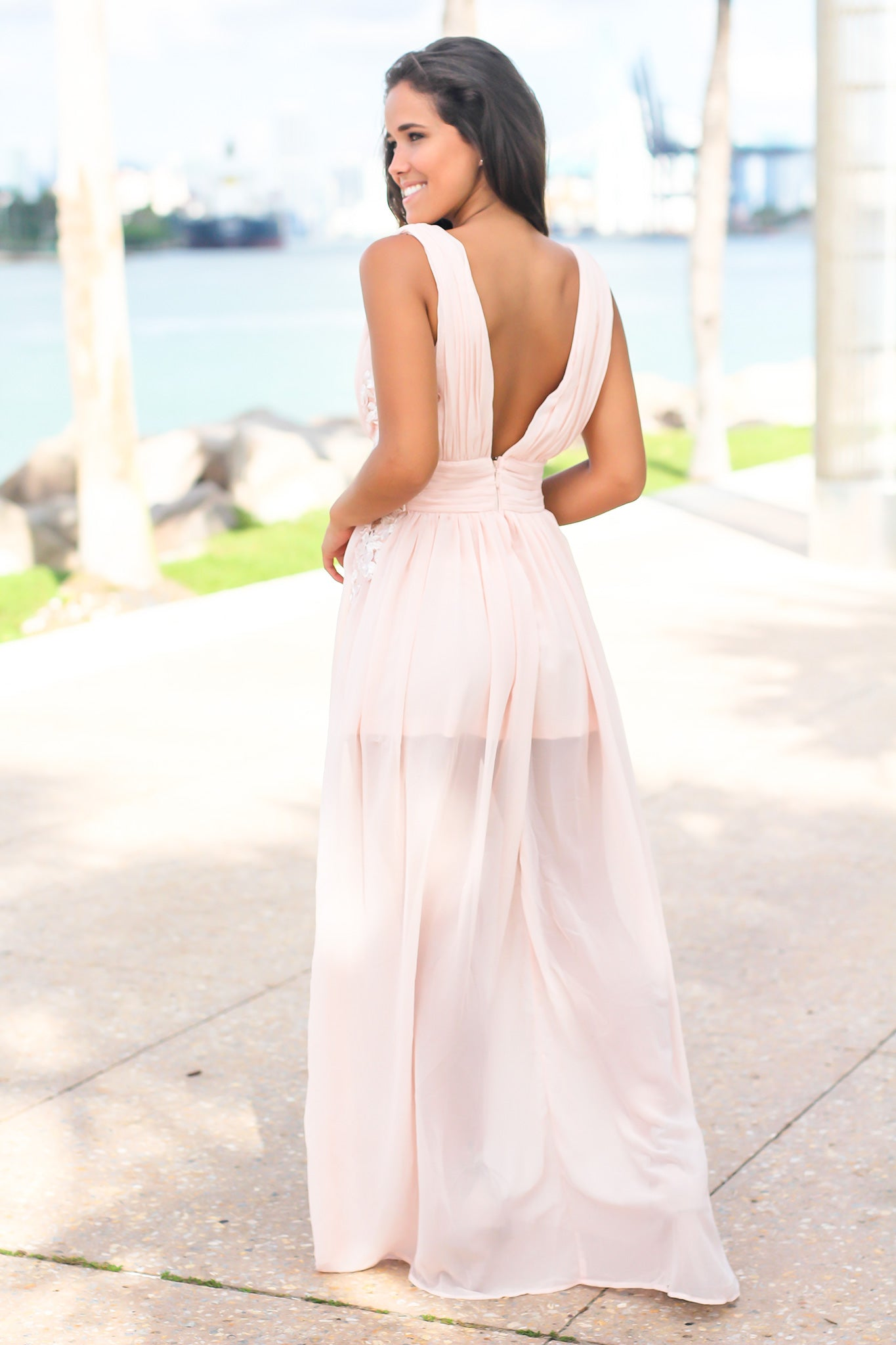 Pink Pleated Maxi Dress with Embroidered Sides