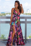 Pink Printed Maxi Dress with Slits