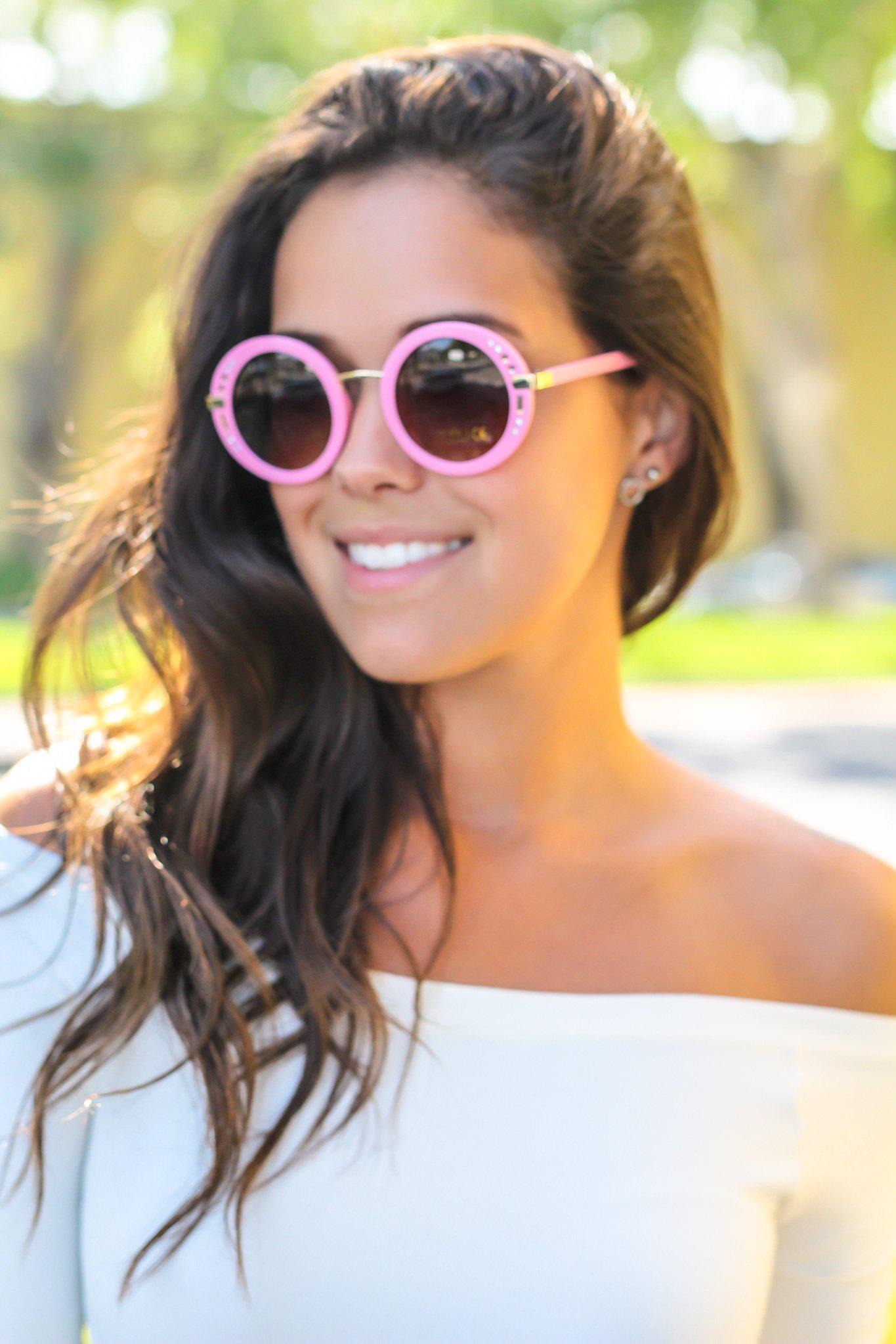 Pink Round Sunglasses with Gold Detail