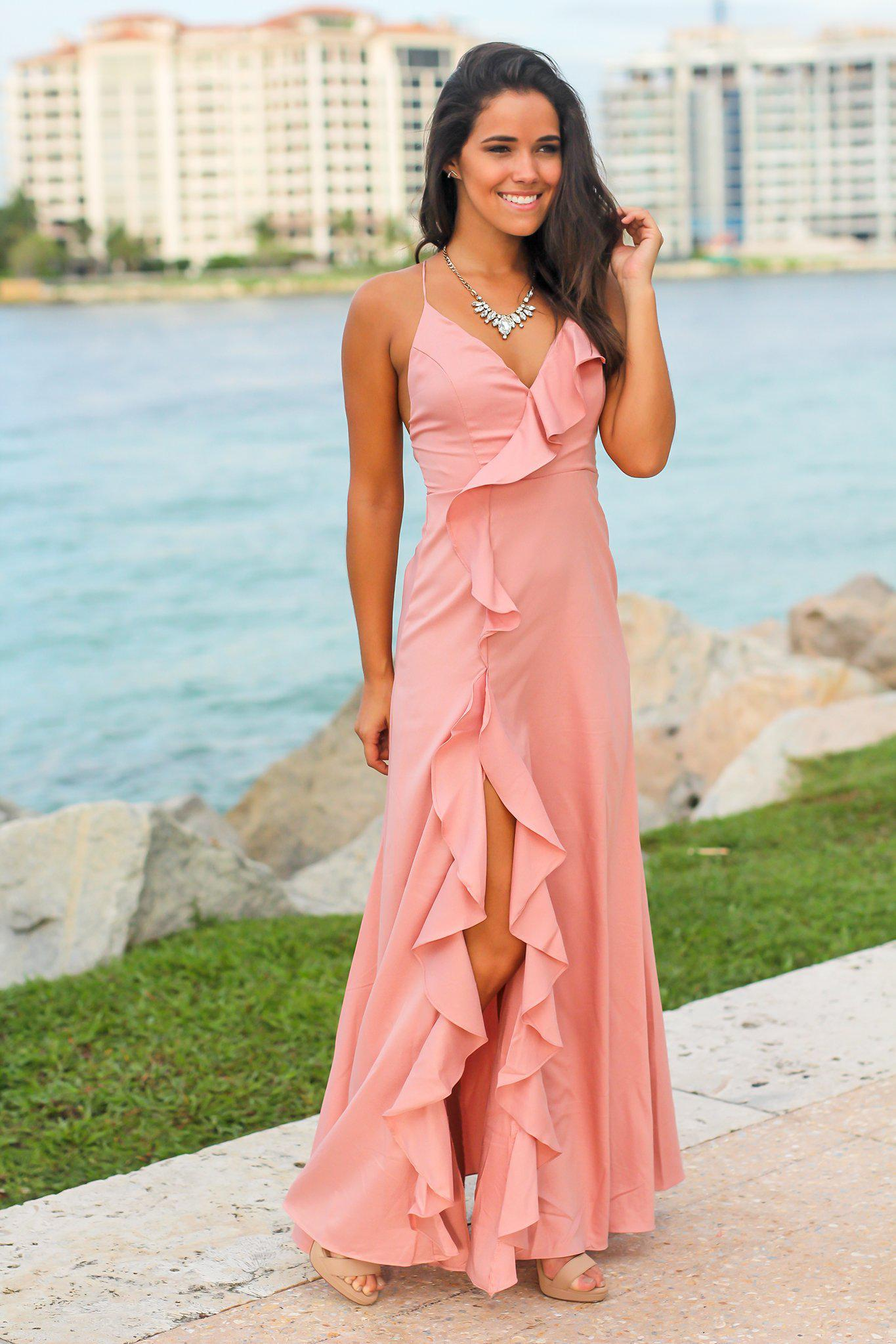 Pink Ruffled Maxi Dress with Lace Up Back