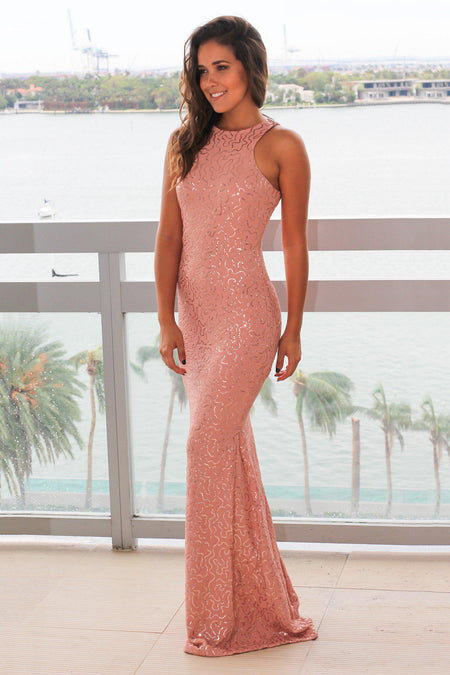 Pink Sequin Maxi Dress