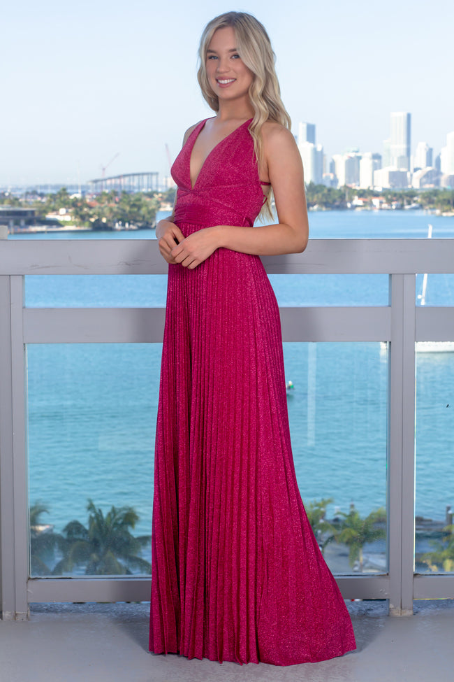 Pink Shimmer Pleated Maxi Dress