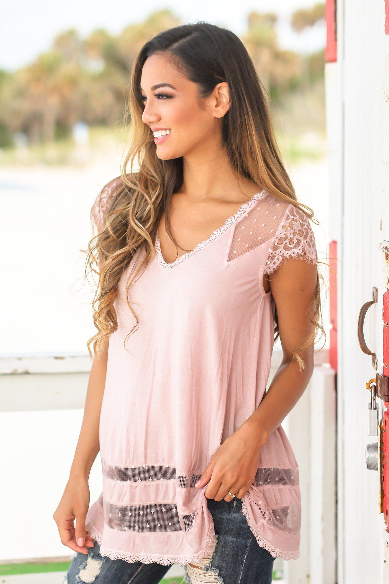 Pink Short Sleeve Top with Lace Detail