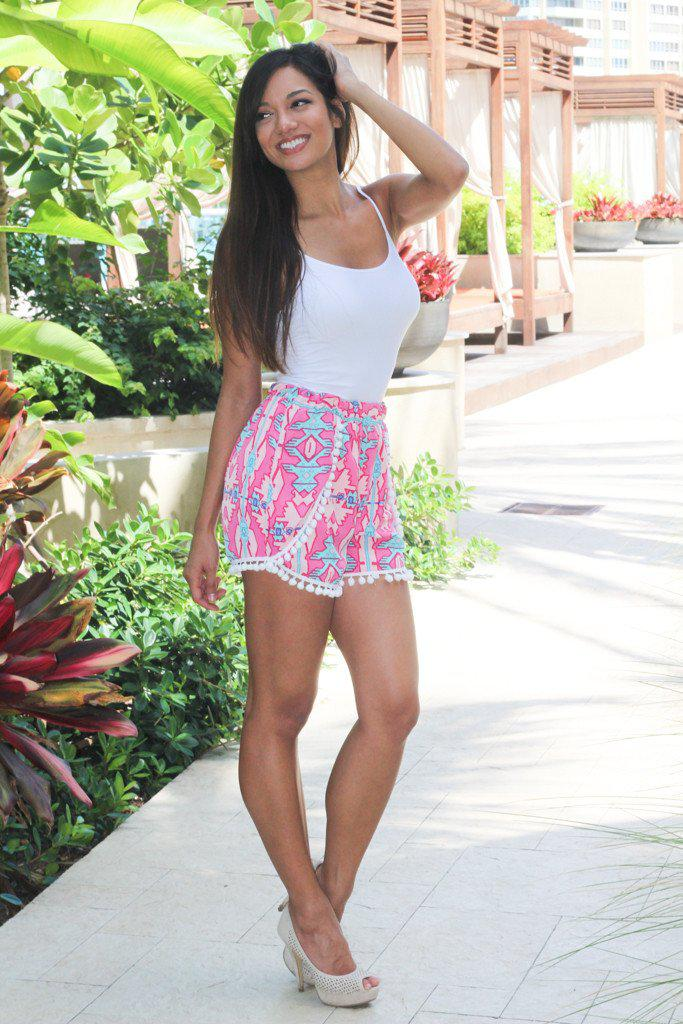 Pink Printed Shorts With Pompom Trim