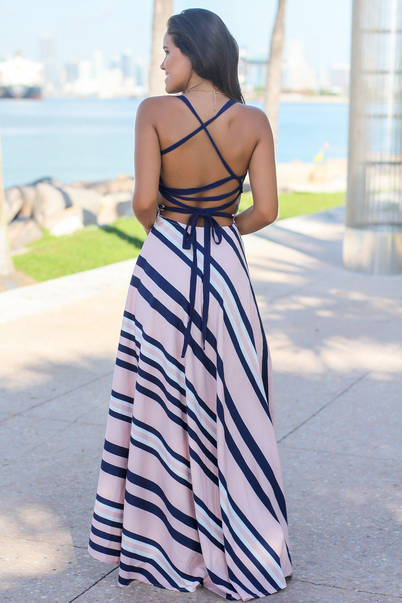 Pink Striped High Low Dress
